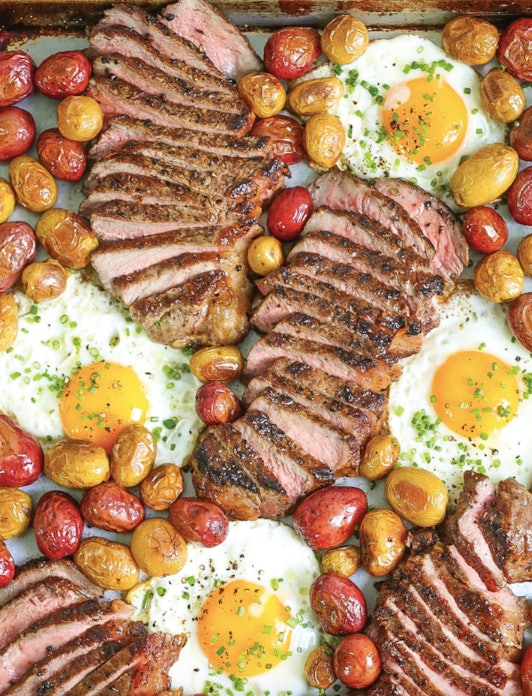 The classic pairing of steak and eggs is made easy on a sheet pan