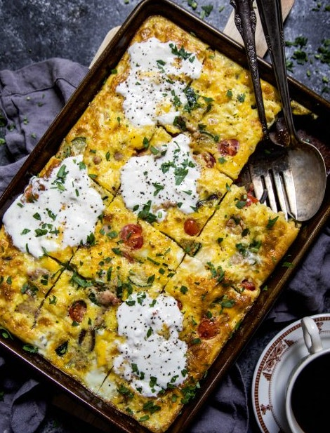 sheet pan frittata recipe from Climbing Grier Mountain is a great way to use up leftover veggies