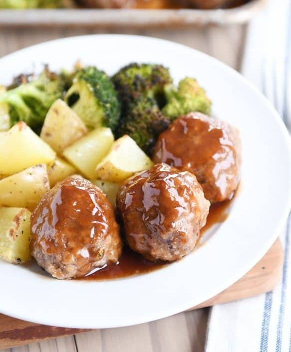 Sheet pan sweet and sour meatballs recipe from Mel's Kitchen cafe is totally kid-friendly