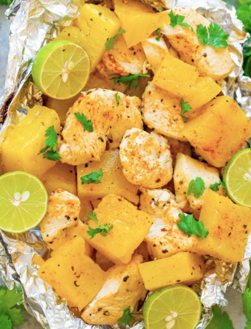 Pretend you're on island time with this foil packet recipe