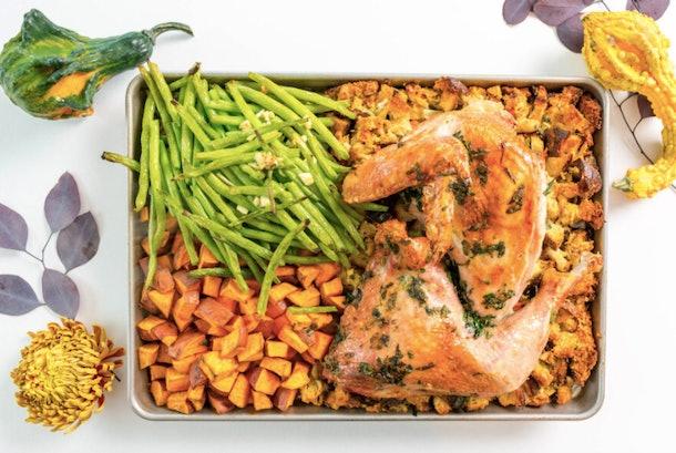Sheet pan Thanksgiving dinner with green beans