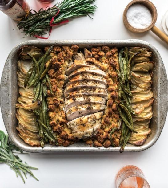 Blistered bean, crispy potato sheet pan thanksgiving dinner