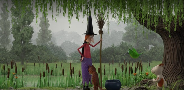 A witch has to make some room on her broom for her furry friends