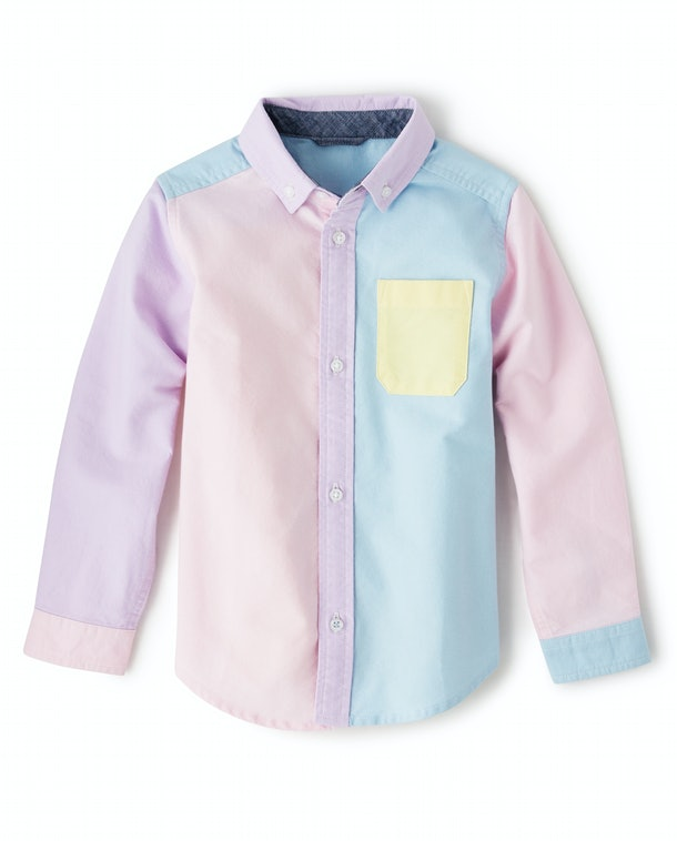A pastel colored button-down shirt from Gymboree