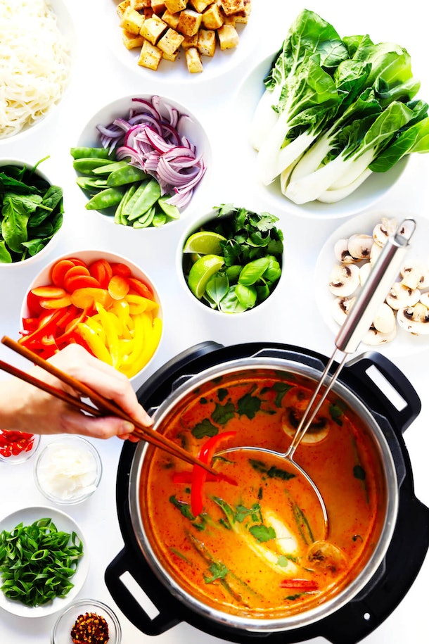 Instant Pot recipes for Valentine's Day, easy thai curry hot pot instant pot