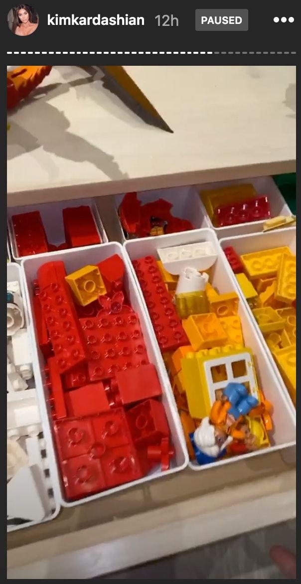Kardashian's kids enjoy playing with color coordinated legos.