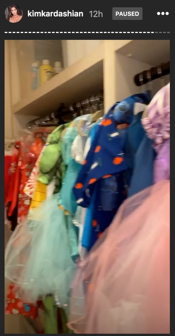 All of their kids enjoy playing with the collection of dress up clothes in the closet.
