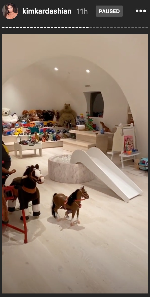 Kim Kardashian's kid's playroom is all white except for their colorful toys.