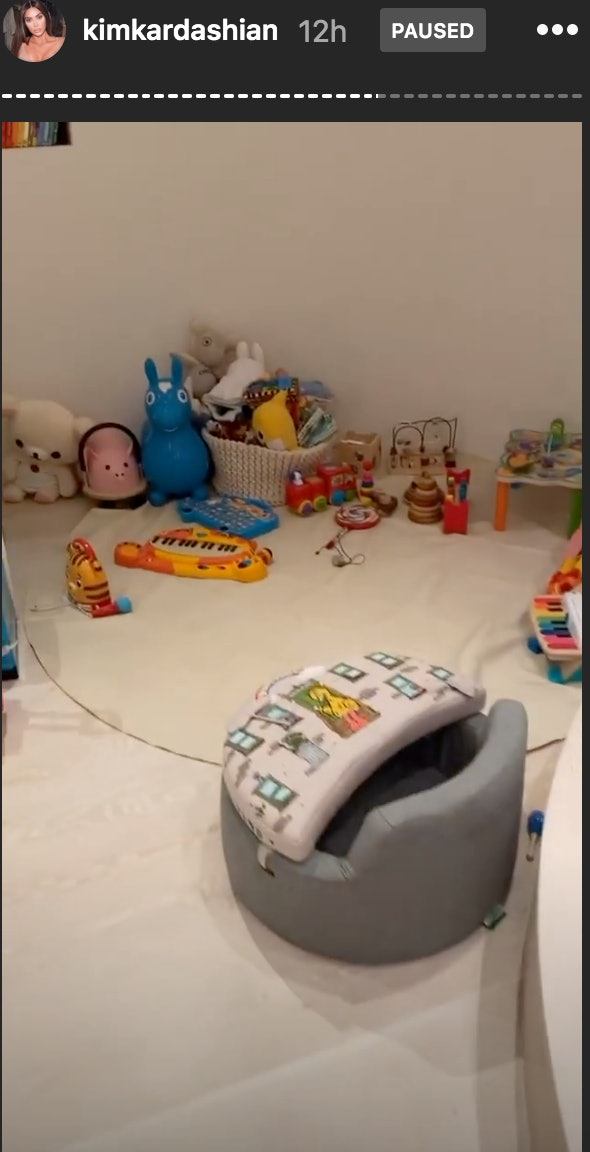 Kim Kardashian's youngest son, Psalm, has his own corner with baby toys.