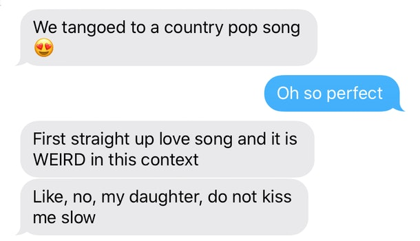 An actual text from my husband from the event in question. He kept me up to date on everything that was going on, because I knew there would absolutely be problematic moments like this.