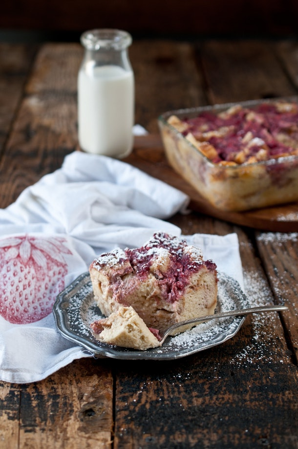 Another easy make-ahead recipe is bread pudding, and this one includes strawberries and cream for a sweet breakfast.