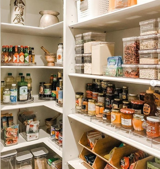 Chrissy Teigen's pantry includes an actual lazy Susan full of Tabasco sauces of various types.