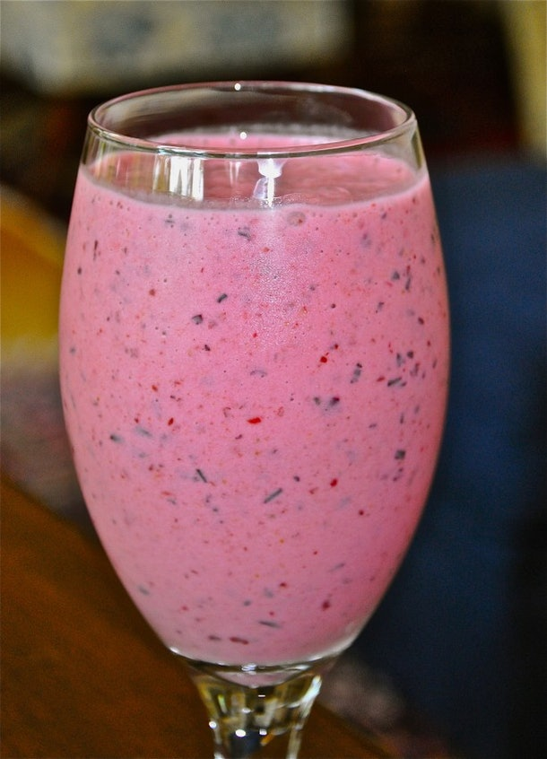 Use frozen mixed berries to make a perfectly pink berry and peach smoothie for Valentine's Day.