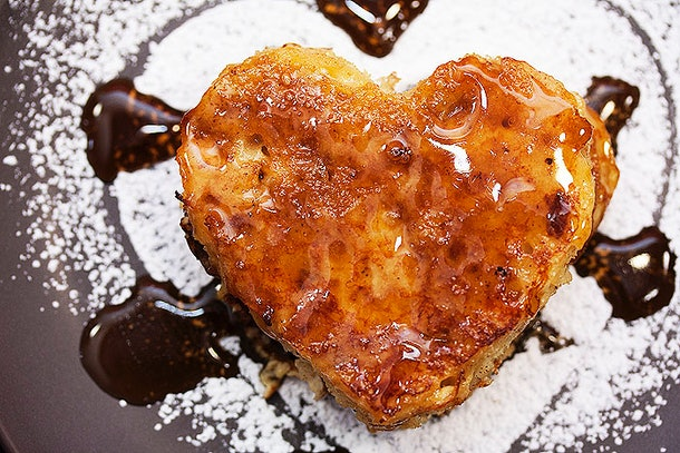 French toast in the shape of a heart is an easy way to get a Valentine's Day breakfast on the table.