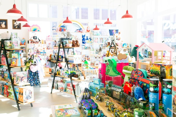 A picture of a whimsical and airy toy shop.