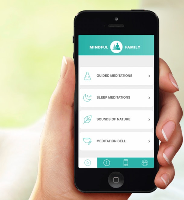 hand holding a smart phone showing the mindful family app