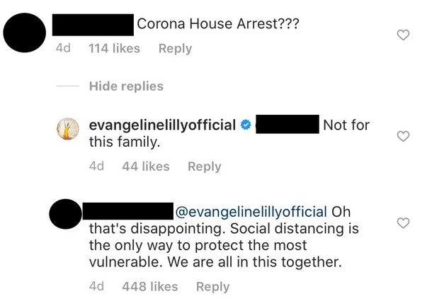"""Actress Evangeline Lilly wrote that her family would not be on """"house arrest"""" when it comes to coronavirus containment efforts."""