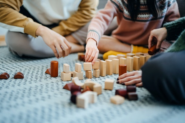 Build towers out of blocks, build LEGOs, or even build things with cardboard —just build something.