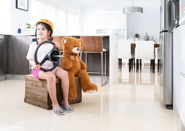 Ideas like tea parties with stuffed animals, pretending to be an astronaut, and playing grocery store can keep a bored child entertained.