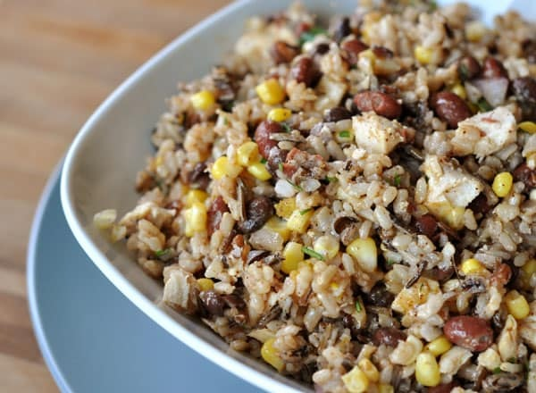 Southwest rice and bean salad is one recipe you can make from pantry staples that your kids will actually eat.