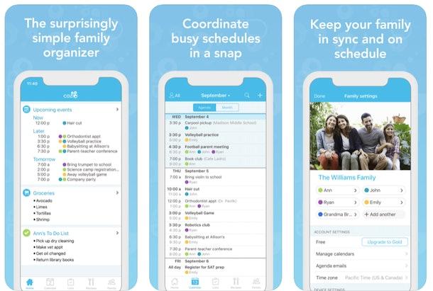 screenshot of Cozi App interface
