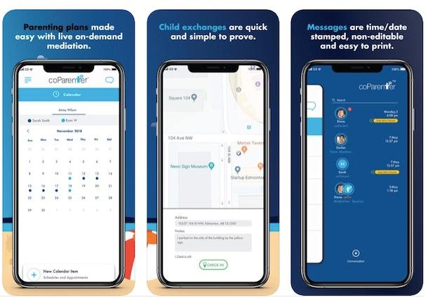 screenshots of coParenter app interface
