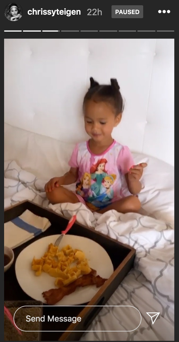 Chrissy Teigen celebrated her daughter's birthday with breakfast in bed and video messages recorded by her friends.