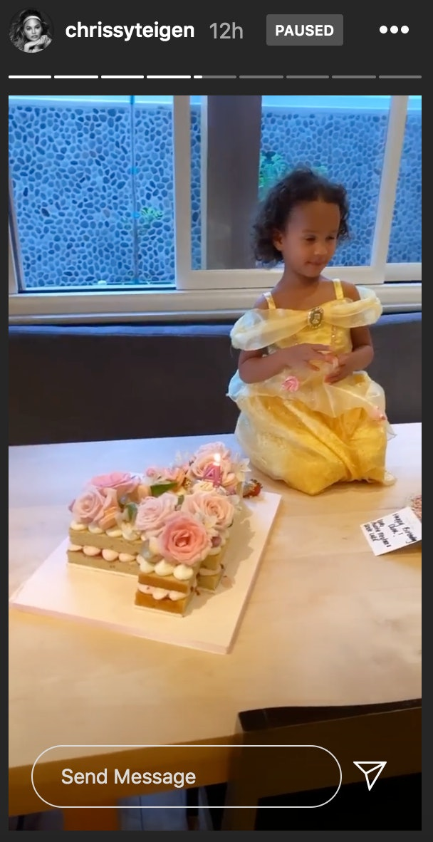Chrissy Teigen made her daughter, Luna, the sweetest birthday cake in the shape of a 4.