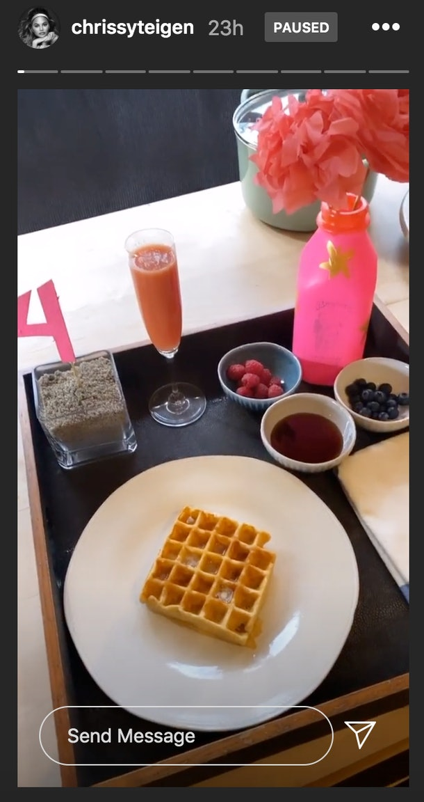 Chrissy Teigen and John Legend's daughter, Luna, celebrated her fourth birthday with breakfast in bed.