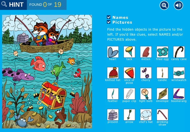 """Screenshot of """"hidden pictures"""" fishing game from Highlights Kids website"""