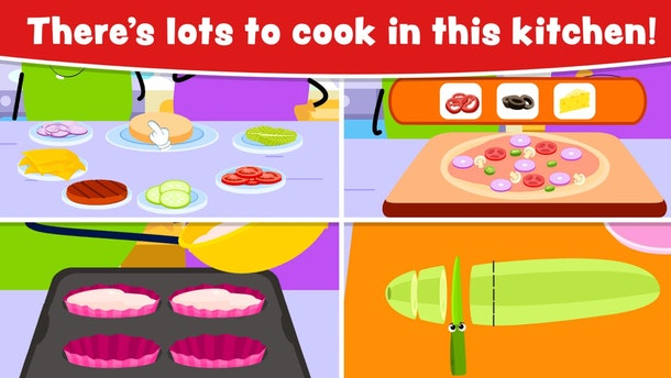 "Promo image for 'Cooking Games for Kids and Toddlers' with a four-square grid showing different foods to ""cook"""