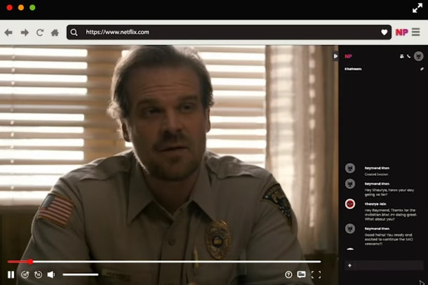 Screenshot of Netflix Party showing Hopper from Stranger things on the left and group chat on the right