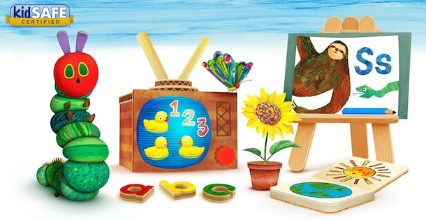 Screenshot of promotional Hungry Caterpillar Play School app featuring several toys, letters, numbers