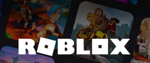 Roblox logo in front of several squares with individual worlds/games