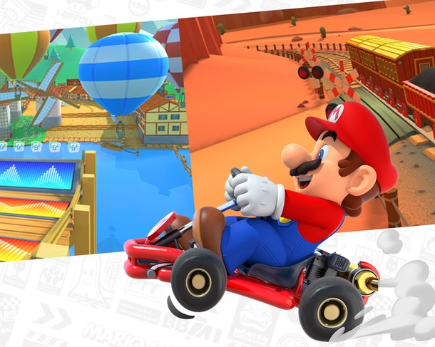 Mario driving in a race car with different track images behind him