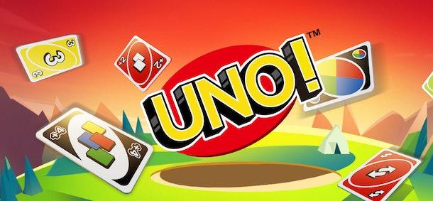 Cartoon image of Uno logo and several Uno cards around it