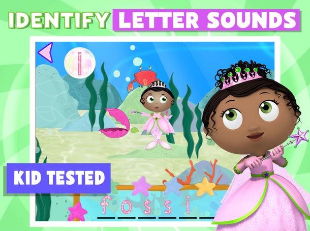 Promo image for Super Why! ABC Adventures featuring a princess working to identify letter sounds