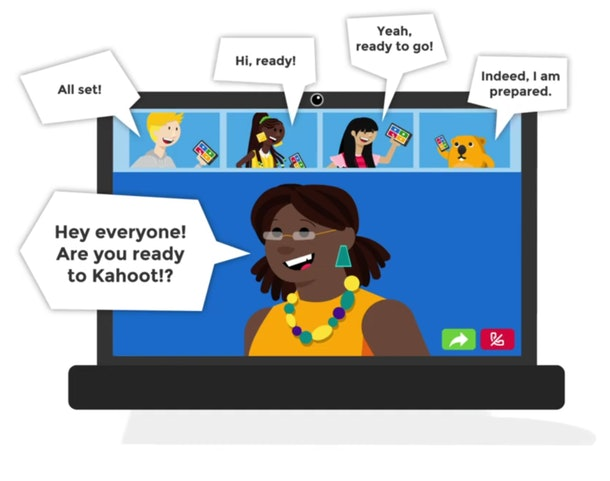 Cartoon image of laptop computer open with a group video chat with speech bubbles about preparation for the game ahead