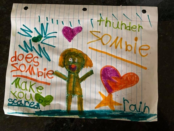 "Child's drawing of a green zombie with words ""Does make you scared?"" written beside it."
