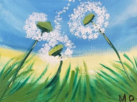 Child's painting of dandelion puff balls.