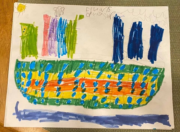 A child's drawing of a cruise ship on the water.