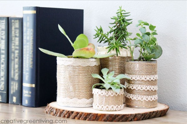 burlap-covered succulent containers is an easy mother's day craft kids can make