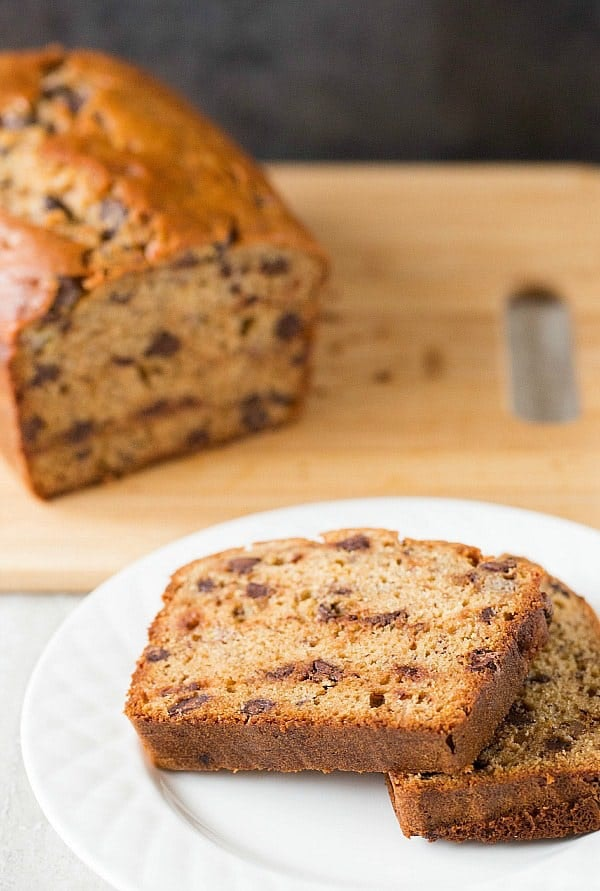 This banana bread recipe uses peanut butter and chocolate chips.