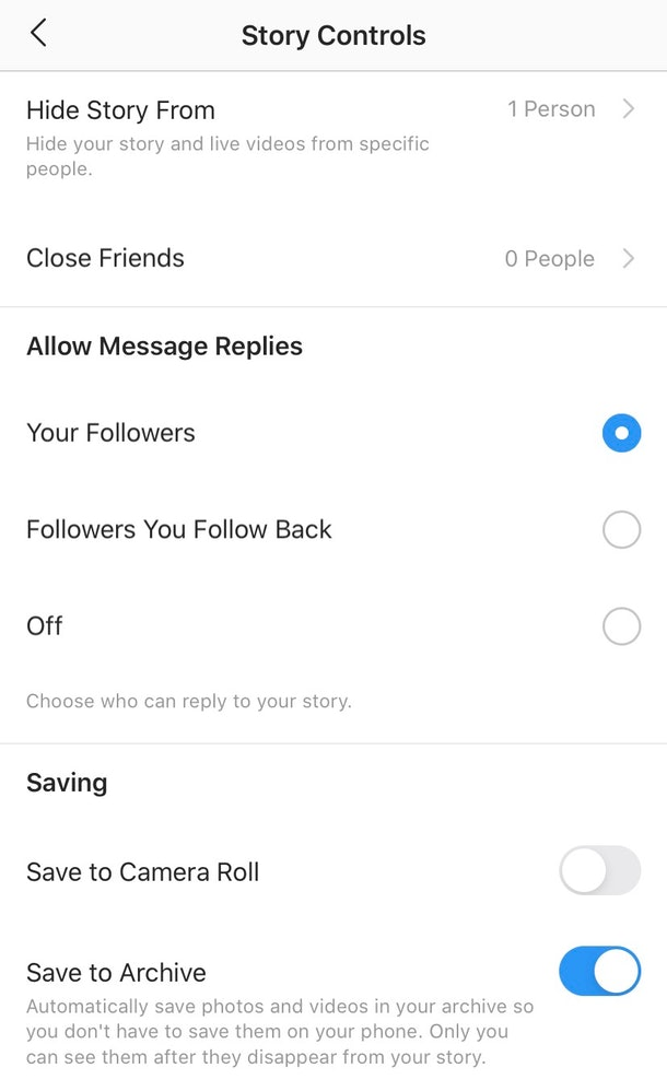 """Screenshot of what """"Story Controls"""" look like on Instagram"""