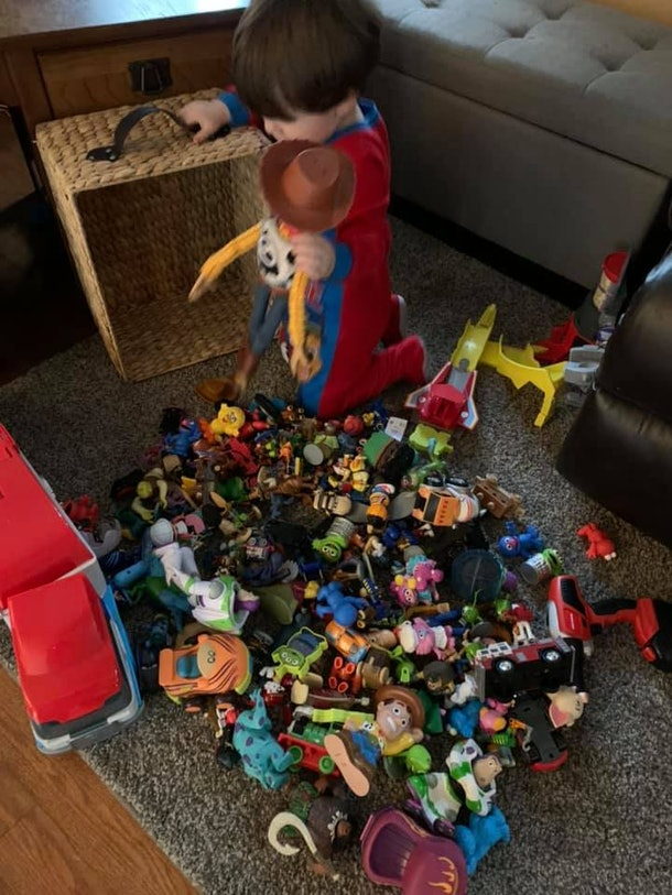 A bucket of tiny toys to sort can keep your kids entertained during social distancing.