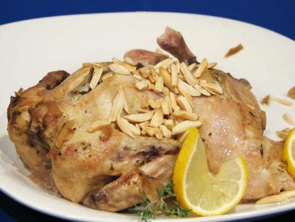 Roasted Lemon Almond Cornish Hens Slow Cooker recipe from Taste & Tell blog makes a beautiful springtime feast