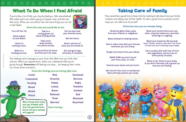 """Sample pages from """"First Aid for Feelings: A Workbook to Help Kids Cope During the Coronavirus Pandemic,"""" which is available from Scholastic as a free coronavirus resource for parents and teachers."""