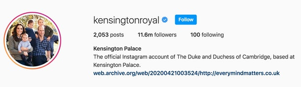 The Kensington Palace Instagram account's profile picture and display name have now changed to add a more personal touch to the couple's official account.