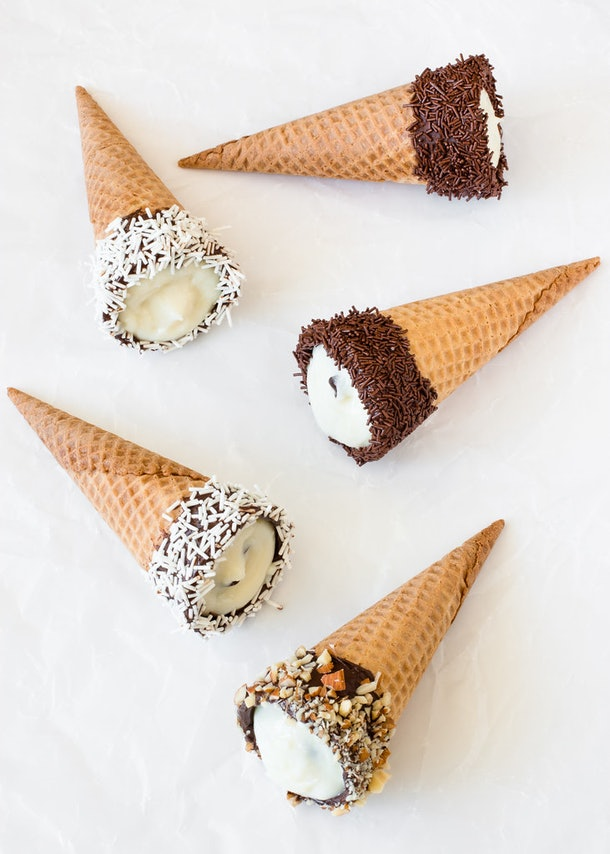 sugar cones filled with a ricotta filling