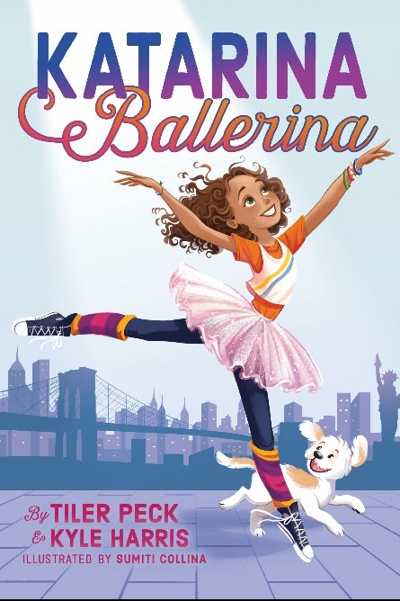 The cover of Katarina Ballerina, featuring the curly-haired dancer and her pet dod Lulu